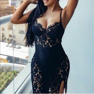 Brand new Black Lace Midi Dress